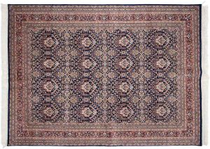 6×9 Vintage Yezd Oriental Blue Hand-Knotted Rug