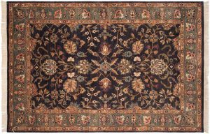 6×9 Yezd Oriental Grey Hand-Knotted Rug
