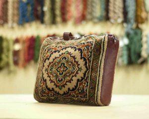 1×1 Vintage Tabriz Oriental Beige Hand-Knotted Carpet Bag