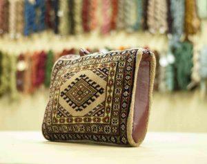 1×1 Vintage Turkman Oriental Beige Hand-Knotted Carpet Bag