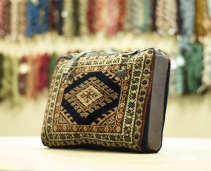 1×1 Vintage Turkman Oriental Blue Hand-Knotted Carpet Bag