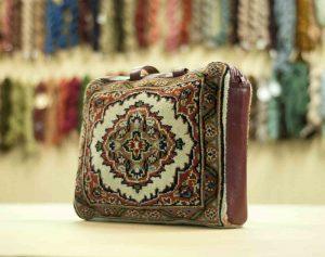 1×1 Vintage Tabriz Oriental Ivory Hand-Knotted Carpet Bag