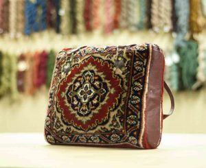 1×1 Vintage Tabriz Oriental Red Hand-Knotted Carpet Bag
