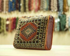 1×1 Vintage Turkman Oriental Rust Hand-Knotted Carpet Bag